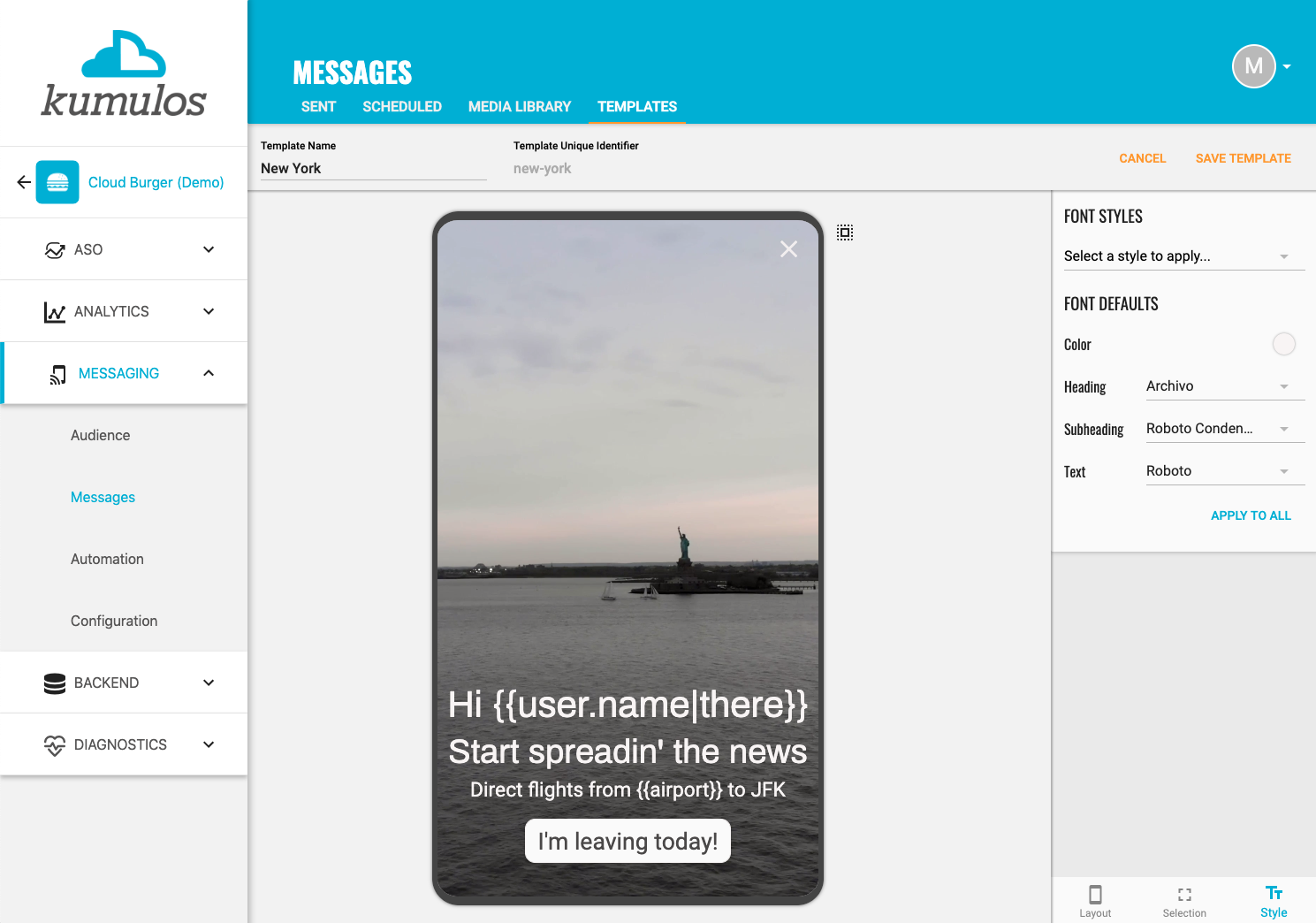 In-App Message Template - Layout